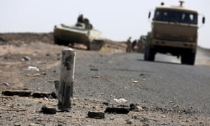 The fragments of a shell at the front line of fighting against Houthi militants in Marib on Wednesday. Coalition troops captured the Houthis' last outpost of Sirwah.