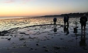 People standing on Tankerton beach