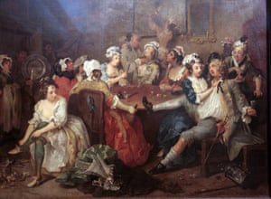 A painting from The Rake's Progress series by William Hogarth.