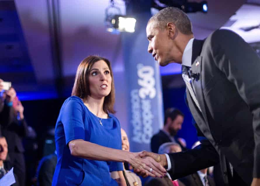 Barack Obama greets Taya Kyle during the televised town hall meeting.
