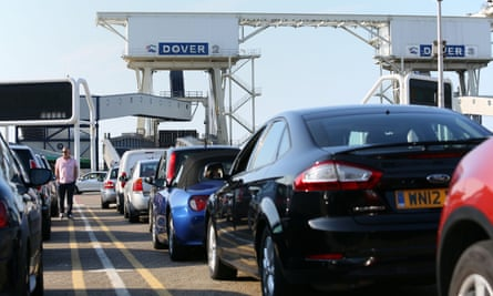 Cars queuing in Dover to board a ferry to France