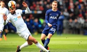 Christian Eriksen curls home the opening goal for Tottenham.