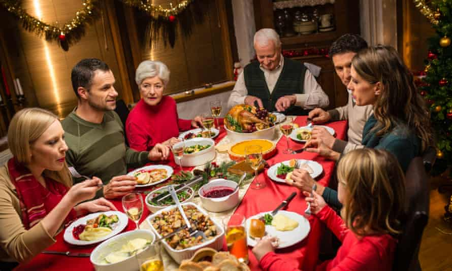 A family eat their Christmas meal