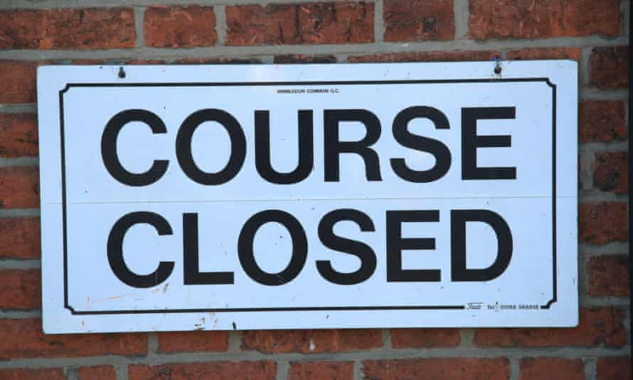 A course closed sign is pictured at Wimbledon Common golf club