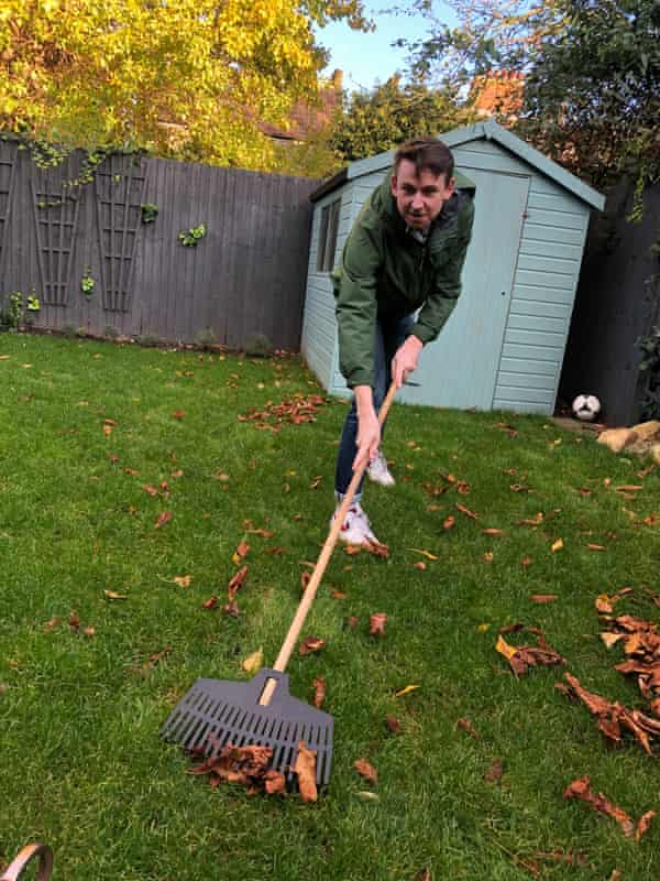 Tim Jonze tends to his lawn