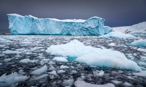 Icebergs floating in the sea in Antarctic Greenland.