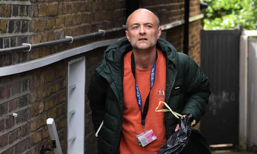 Dominic Cummings, departs his home in London.