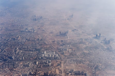 The outskirts of New Delhi are swathed in smog.