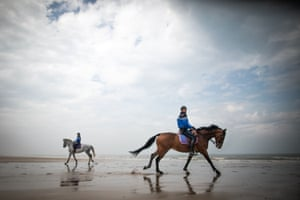 Courseulles-sur-Mer, Normandy Mounted gendarmes patrol on the beach