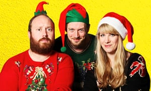 Jonny Donahoe, Paddy Gervers and Rachel Parris in Thirty Christmases
