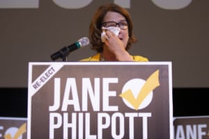 The independent candidate Jane Philpott reacts as she speaks to supporters after losing her seat in Markham, Ontario