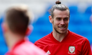 Gareth Bale in training before Wales's Euro 2020 qualifier with Slovakia on Sunday.
