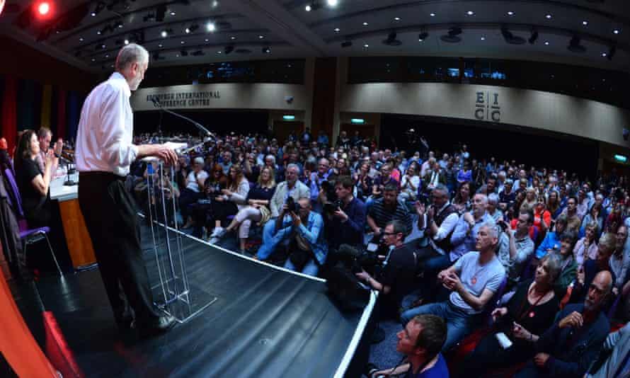 Jeremy Corbyn speaking in Edinburgh