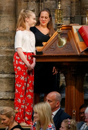 Freya Lewis with Jenny Grant, a nurse who helped the teenager with her injuries, at the service in Westminster Abbey.
