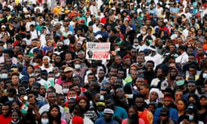 Demonstrators gather in Lagos during a protest over alleged police brutality
