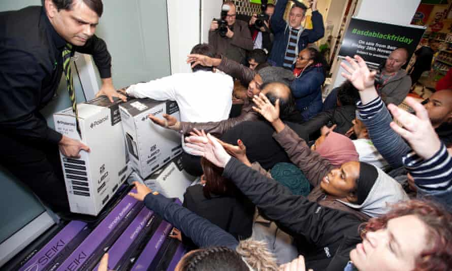 Black Friday scramble at the Asda store in Wembley, north-west London, last year.
