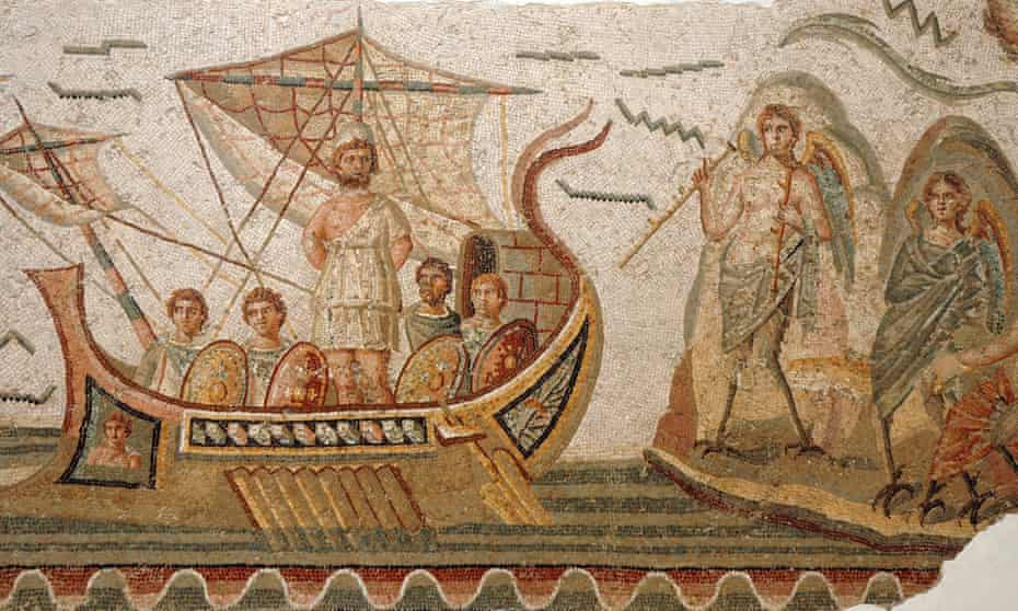 Mosaic of a scene from Homer's Odyssey in the Bardo museum, Tunis.