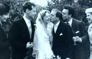 Dinah Sinden, Richard Attenborough, Donald Sinden and Sheila Sim attend the wedding of Barry and Diana Norman in 1957