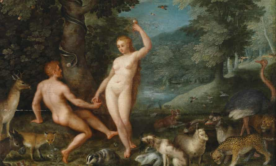 Paradise Landscape with Eve Tempting Adam. Artist: Brueghel, Jan, the Younger (1601-1678)Paradise Landscape with Eve Tempting Adam. From a private collection. (Photo by Fine Art Images/Heritage Images/Getty Images)