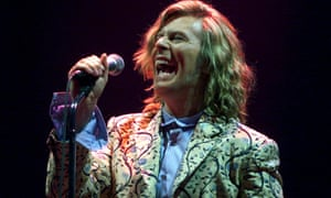 David Bowie headlines the Pyramid stage at Glastonbury in 2000.