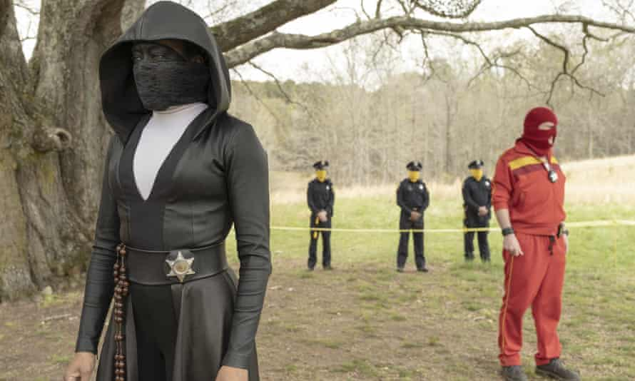 Regina King in a scene from awardwinning HBO series Watchmen, which was created without the involvement of Alan Moore.