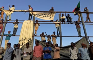 Protesters chant slogans as they call for the Sudanese president to step down in Khartoum, Sudan