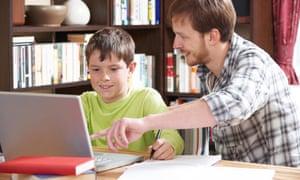Male tutor with boy.