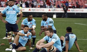 Dejected Waratahs players after losing the Super Rugby semi to the Lions at Ellis Park.