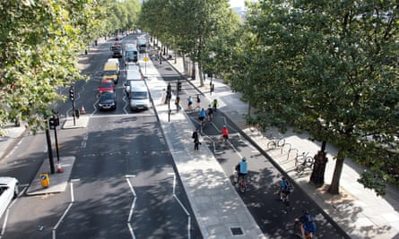 The east-west cycle superhighway on Victoria Embankment in London.