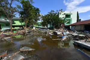 Wreckage and debris are seen at the State Islamic University in Palu.
