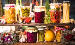 Jars of homemade pickles.