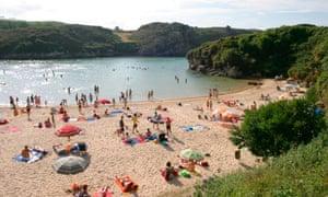 Pretty Green Poo Beach in Asturias, Northern Spain.