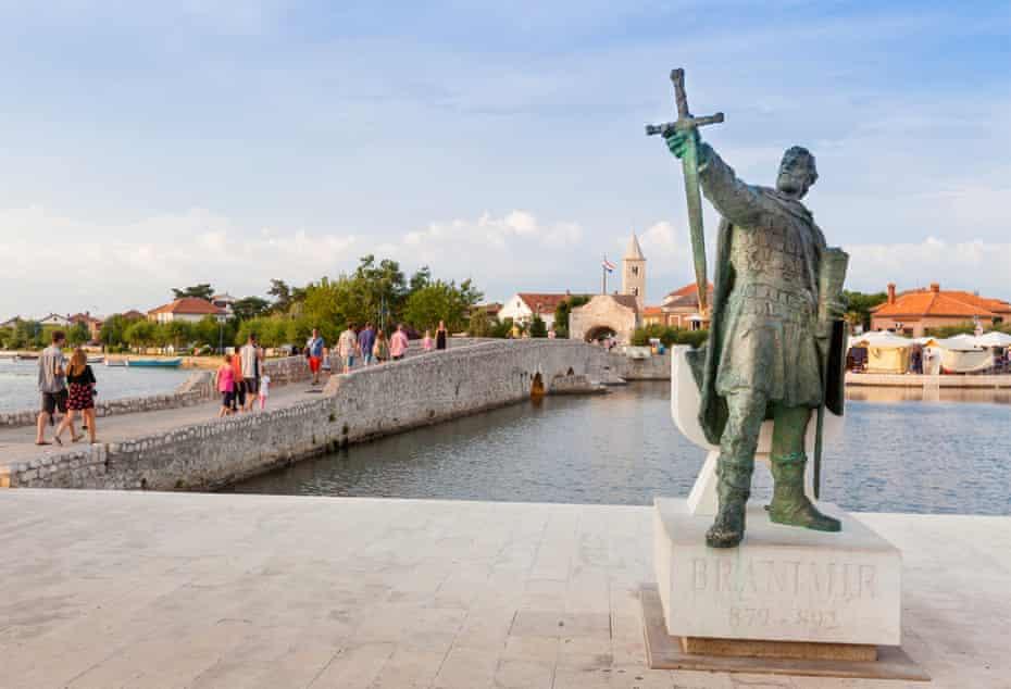 Statue of the ninth-century leader Branimir of Croatia in Nin town.