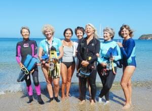 The 'fantastic grandmothers': (L-R) Geneviève Briançon, Aline Guémas, Monique Zannier, Monique Mazière, Sylvie Hébert, Cathy Le Bouteiller and Marilyn Sarocchi in Baie des citrons in Noumea.