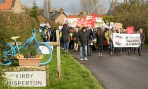 An anti-fracking march from Kirby Misperton village, Yorkshire, to the nearby fracking site in November 2017