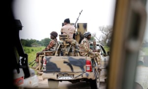 A Nigerian army convoy heads to Bama in Borno State.
