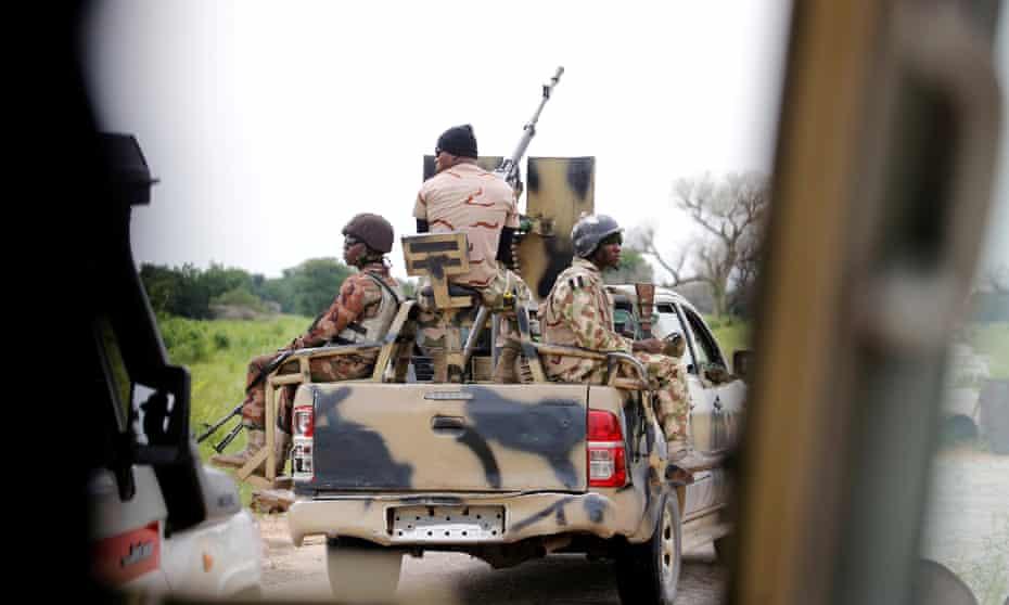 A Nigerian army convoy heads to Bama in Borno State.