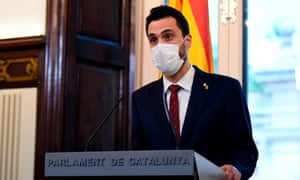Roger Torrent, the speaker of the Catalan parliament, gives a press conference on Tuesday
