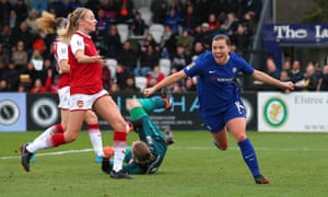 Fran Kirby, celebrating here after scoring in the WSL for Chelsea against Arsenal, has helped to tip the balance in favour of her club.