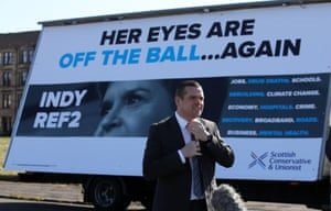 Douglas Ross, the Scottish Conservative leader, launching an election advert in Glasgow this morning.