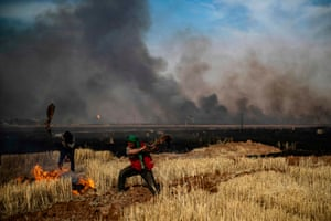Al-Qahtaniyah, Syria. A fire in the Kurdish-run bread-basket province of Hasakeh near the border with Turkey, where Islamic State has made several arson attacks on wheat fields