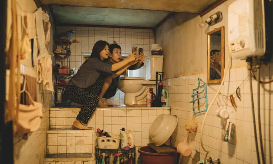Park So-dam, left, and Choi Woo-shik in Parasite.