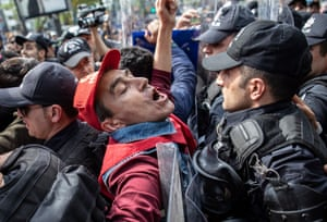 Istanbul, Turkey. Protesters are arrested by riot police as they try to reach Taksim Square for an illegal May Day celebration