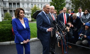 Nancy Pelosi and Chuck Schumer speak to the media after their White House meeting with Trump.