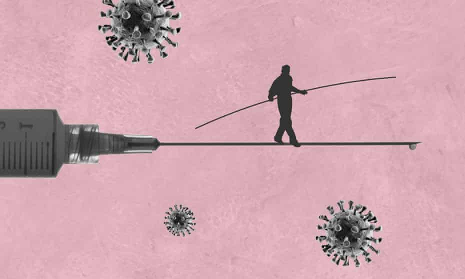 A tightrope walker on the needle of a hypodermic syringe.