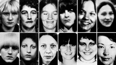 12 of Sutcliffe's victims: top row, Wilma McCann, Emily Jackson, Irene Richardson, Patricia Atkinson, Jayne McDonald and Jean Jordan. Bottom row: Yvonne Pearson, Helen Rytka, Vera Millward, Josephine Whitaker, Barbara Leach and Jacqueline Hill.