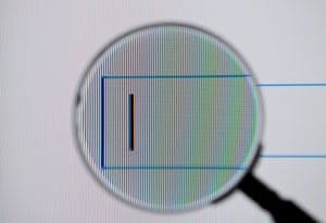 Magnifying glass over a Google search box
