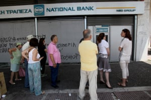 GREECE-ATHENS-BAILOUT<br>06 Jul 2015, Athens, Attica, Greece --- (150706) -- ATHENS, July 6, 2015 (Xinhua) -- Greek pensioners without bank cards line up outside bank to withdraw up to 120 euros for the week, in Athens, July 6, 2015. Greek President Prokopis Pavlopoulos convened political leaders for a meeting to design new strategy after the no victory in the July 5 referendum on bailout terms. (Xinhua/Marios Lolos) (dzl) --- Image by © Marios Lolos/Xinhua Press/Corbis
