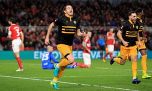 Matthew Dolan celebrates after scoring for Newport County against Middlesbrough.