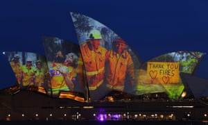 Projections are seen on the sails of the Sydney Opera House in recognition of the communities affected by bushfires.